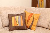 Two Decorative Pillows On A Sofa