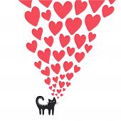 stock photo of cat-tail  - Cute card with cat in love - JPG