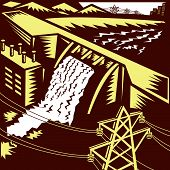 stock photo of electricity pylon  - Illustration of a hydroelectric hydro energy generation dam with pylons and buildings done in woodcut style - JPG