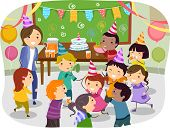 stock photo of stickman  - Illustration of Stickman Kids Having a Birthday Party at School - JPG