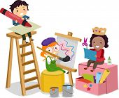 stock photo of stickman  - Illustration of Stickman Kids making Arts and Crafts - JPG