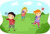 Illustration of Stickman Kids Playing with Pinwheels in a Field