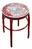 Old Metal Red Chair On Isolate White Background