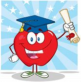 Smiling Apple Cartoon Character Graduate Holding A Diploma