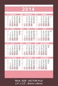 Pink Pocket Calendar 2014 Vector Size: 2.4