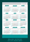 Vector Pocket Calendar 2014 Real Size: 2.5