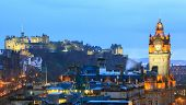 Edinburgh Castle with Cityscape from Calton Hill at dusk Scotland UK