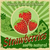 Vintage Poster For Strawberries Farm