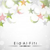 Muslim community festival Eid Al Fitr (Eid Mubarak) background with moon and stars on shiny grey background.