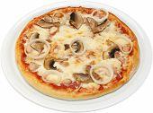Pizza Katanas with cheese tomatoes mushrooms chicken