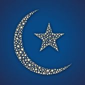 Muslim community festival Eid Mubarak concept with moon and star on blue background.