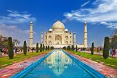 stock photo of indian flag  - Taj mahal front view with reflection - JPG