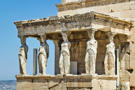 image of poseidon  - The Erechtheion is an ancient Greek temple on the north side of the Acropolis of Athens in Greece which was dedicated to both Athena and Poseidon - JPG