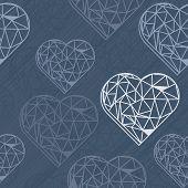 blue crystal diamond shaped messy border hearts on dark seamless pattern