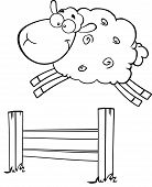 stock photo of counting sheep  - Black And White Funny White Sheep Jumping Over The Fence  Illustration Isolated on white - JPG