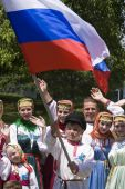 Banja Luka - June 21 - Young People In Traditional Russian Ethnic Clothing On International Folk Dan