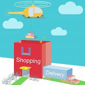 Shop Storehouse As Shopping Bag Commerce And Various Logistic Cargo Shipping With Carts Near Enter I