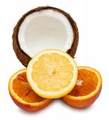 Halved Orange, Half Of Coconut And Lemon Isolated On White