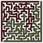 Many-colored Square Maze (16X16)