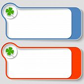 Set Of Two Abstract Text Boxes With Cloverleaf