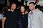 Hugh Jackman with Taylor Kitsch and Liev Schreiber  at the United States Premiere of 'X-Men Origins