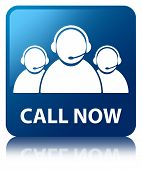 Call Now Glossy Blue Reflected Square Button