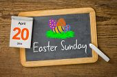 Easter Sunday 2014 April 20 written on a blackboard