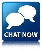 Chat Now Glossy Blue Reflected Square Button