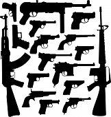stock photo of kalashnikov  - Vector silhouettes of the most known world legendary samples of pistols - JPG