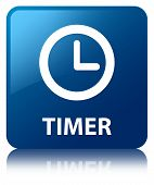 Timer Clock Glossy Blue Reflected Square Button