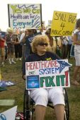Healthcare supporters rally in Los Angeles.