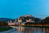 pic of mozart  - Twilight view of Salzburg old town - JPG
