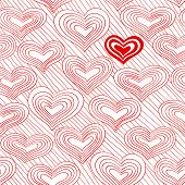 stock photo of sweetheart  - Red and white doodle pattern with hearts - JPG