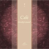 Cafe background with tiny drawings