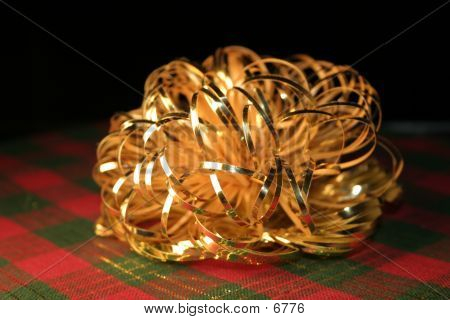 Gold Bow On Plaid poster