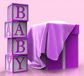 Giftbox Baby Represents Surprises Giving And Youngster