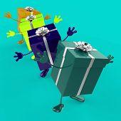 Celebration Giftboxes Indicates Fun Joy And Giving