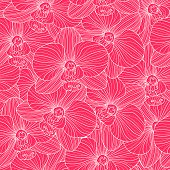 White Lines On Bright Pink Background Orchid Seamless Pattern