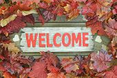 Autumn leaves border red wooden welcome sign with wood hearts