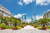 HO CHI MINH, VIETNAM - APRIL 28, 2014: View from public park on Bitexco Financial Tower - the talles