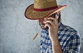 Farmer With Cowboy Straw Hat