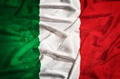 Italy Grunge Flag On A Silk Drape