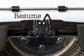 the word Resume written with vintage typewriter