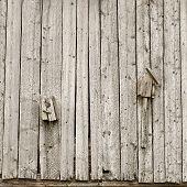 Two Old Broken Homemade Birdhouses