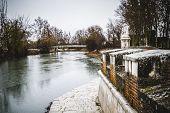 Tajo river view.Palace of Aranjuez, Madrid, Spain