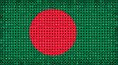 Flag Of Bangladesh Lighting On Led Display