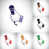 Colorful Blue Red Black Thumbs Up Hand Illustration Symbol With Karaoke Mic Microphone