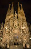 Barcelona - cathedral Sagrada la Familia in night - east facade Gaudi