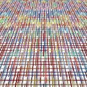 Multicolored Perspective Grid Pattern On White As Abstract Background.