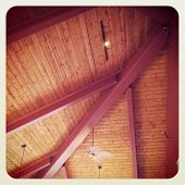 Beautiful wooden roof detail interior with instagram effect